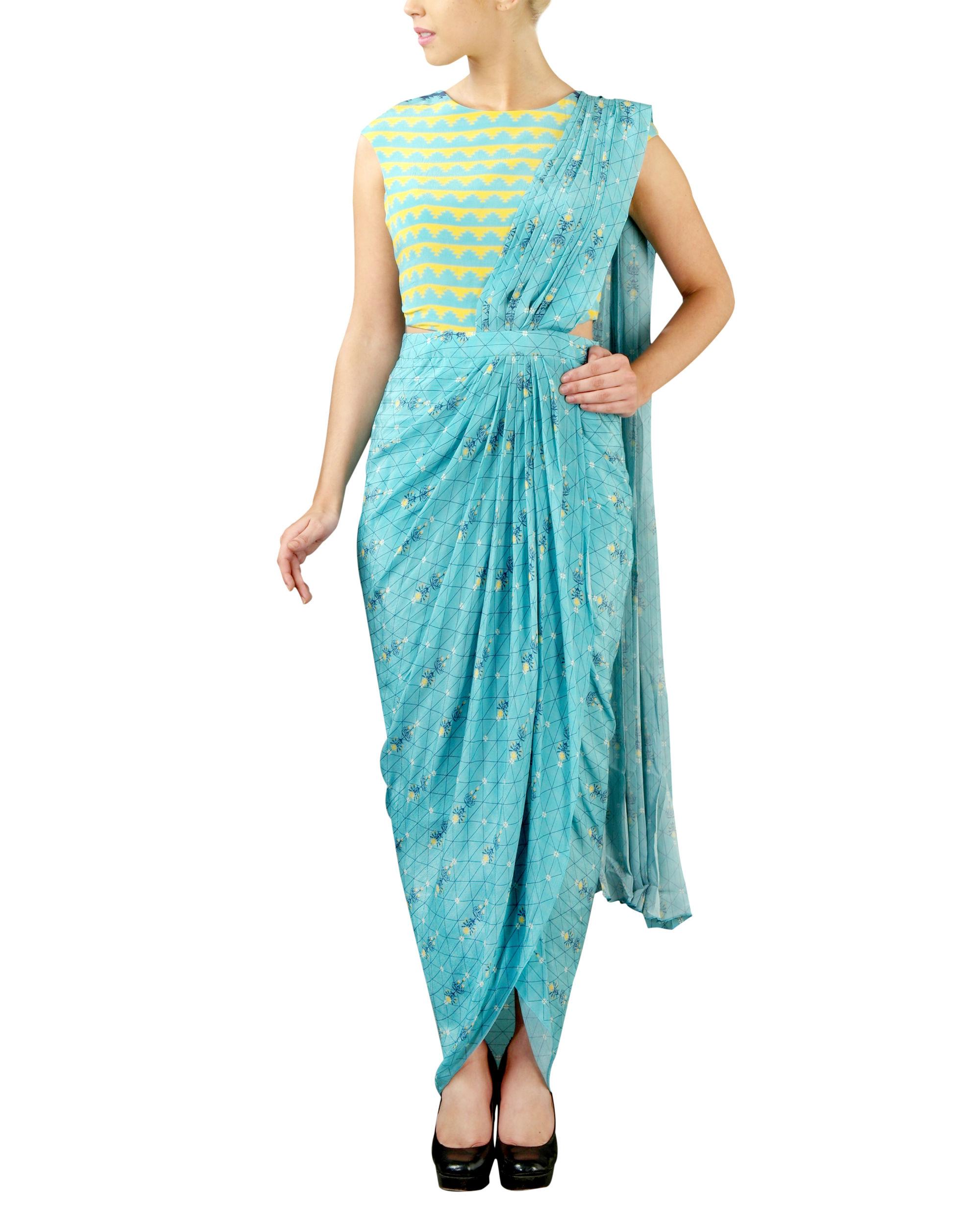 Turquoise draped saree