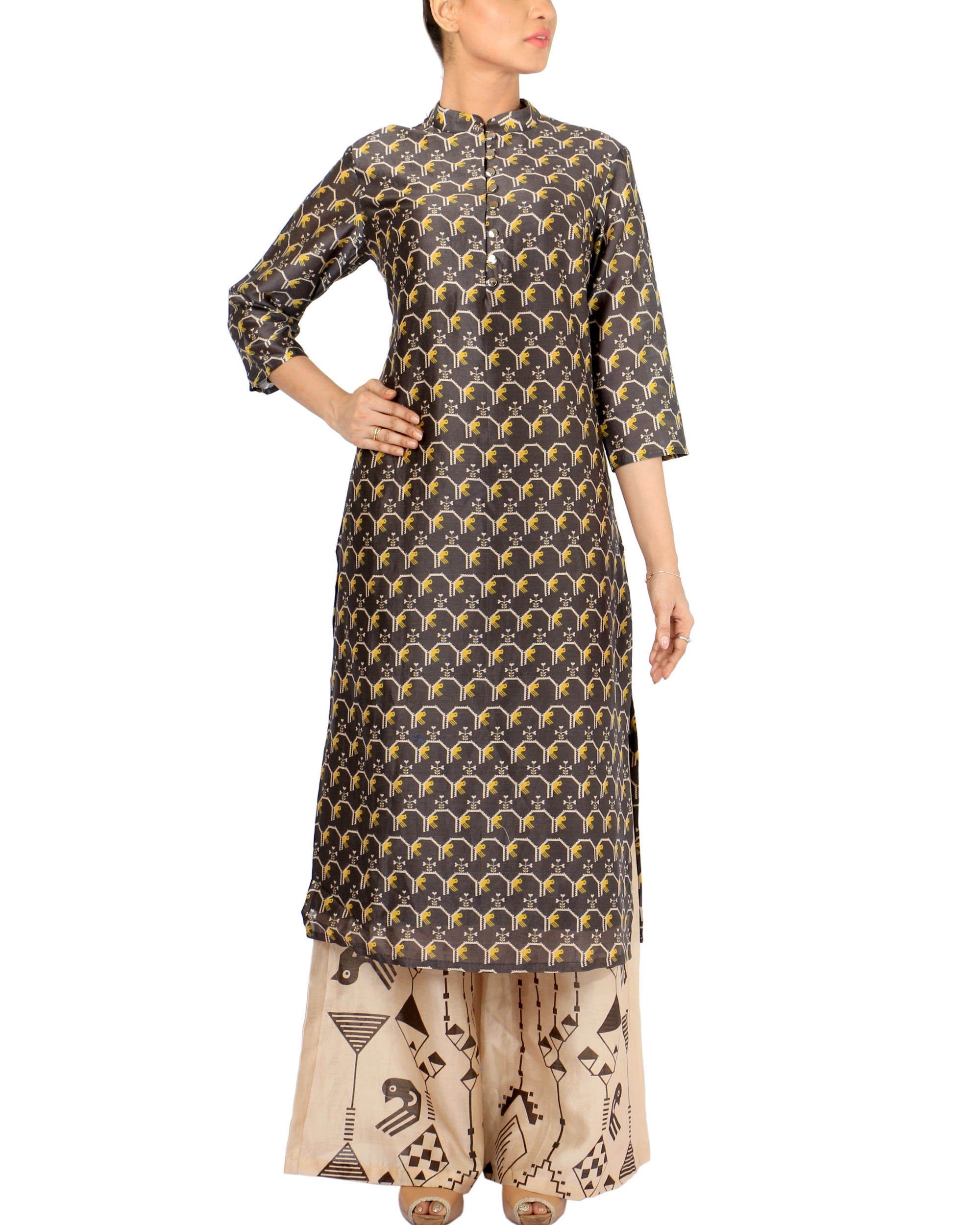 Black beige kurta set