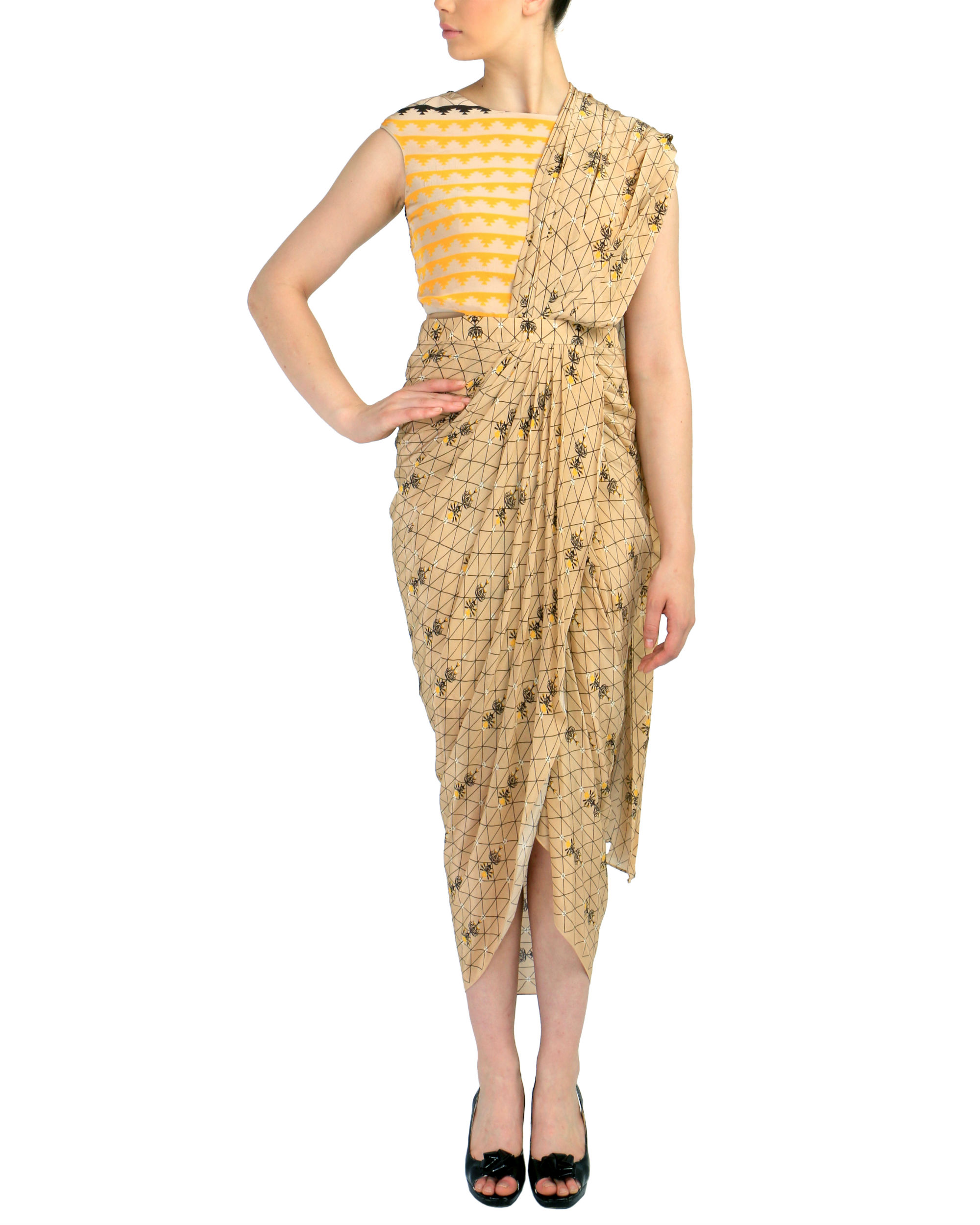 Beige geometric predraped saree