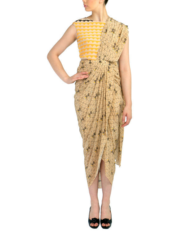 Beige geometric predraped saree