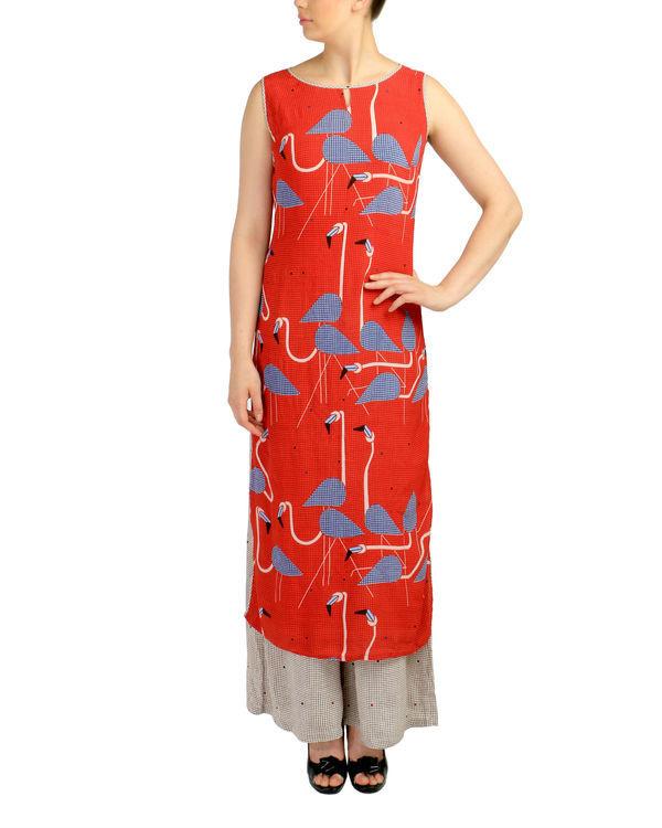 Crimson flamingo kurta set
