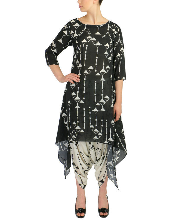 Black geometric kurta set