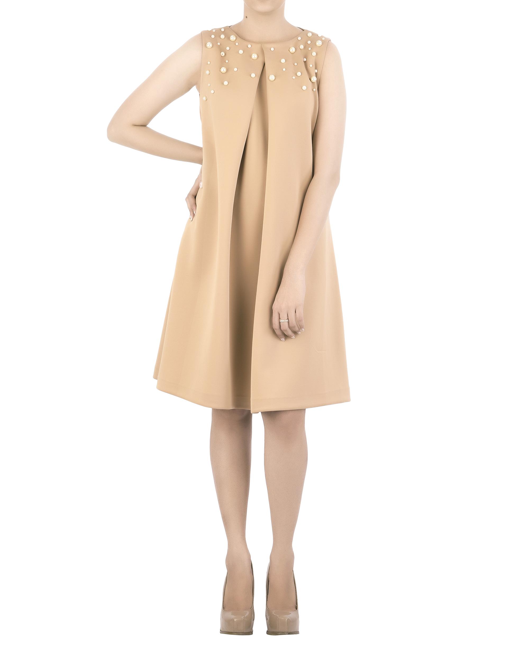 Neoprene pleated dress
