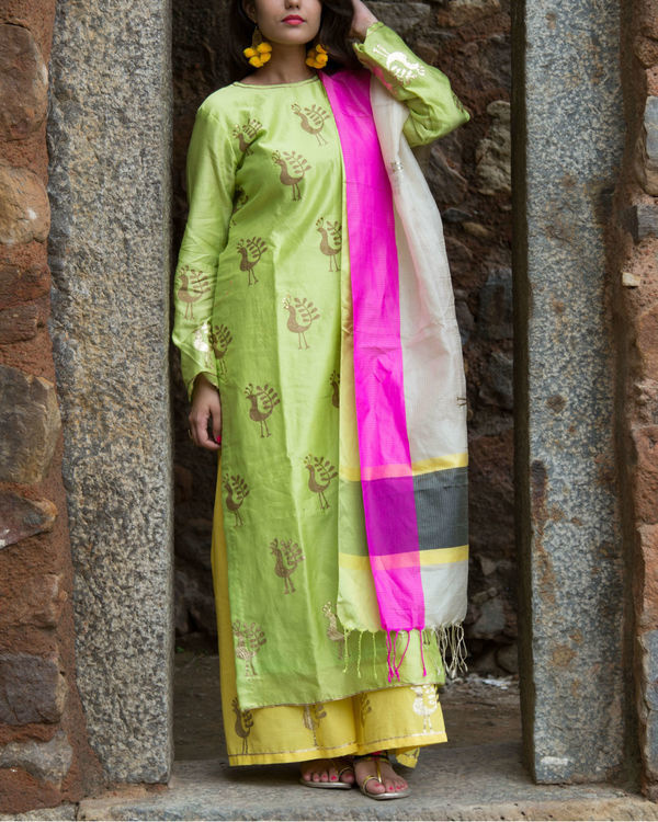 Green foil kurta set