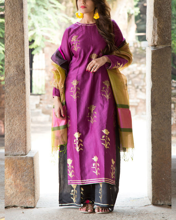 Purple foil kurta set