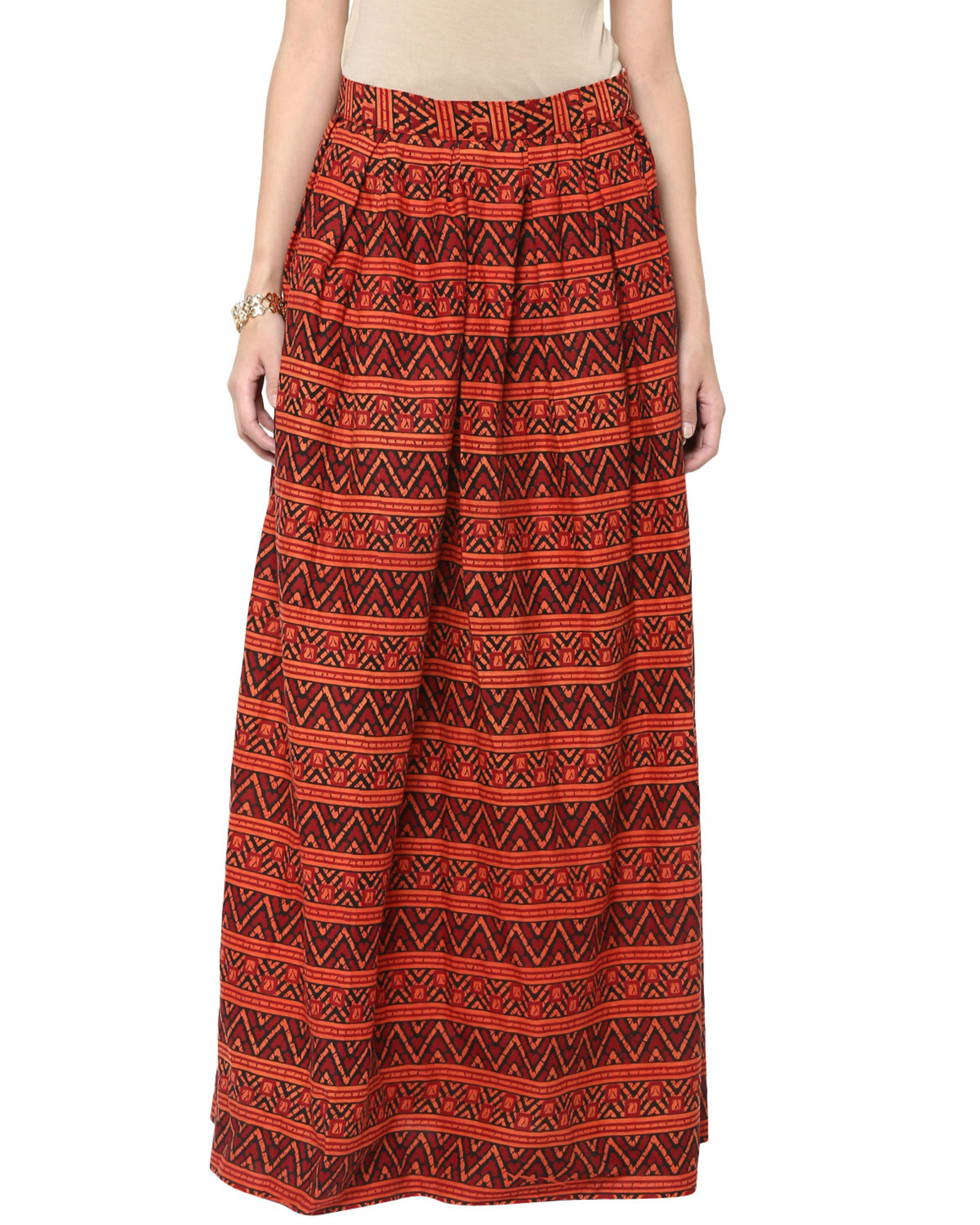 Brick long skirt