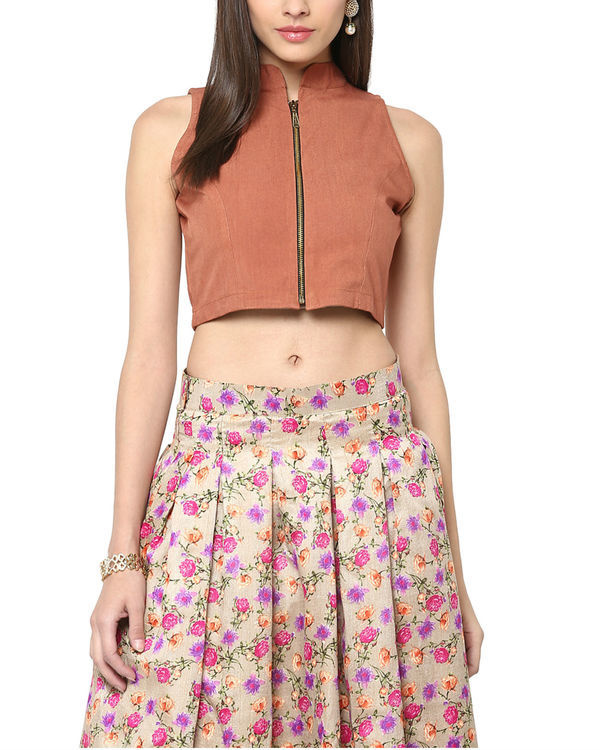 Brown zipper crop top