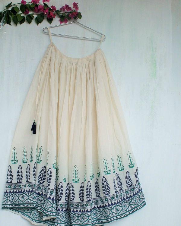 Ivory green long skirt