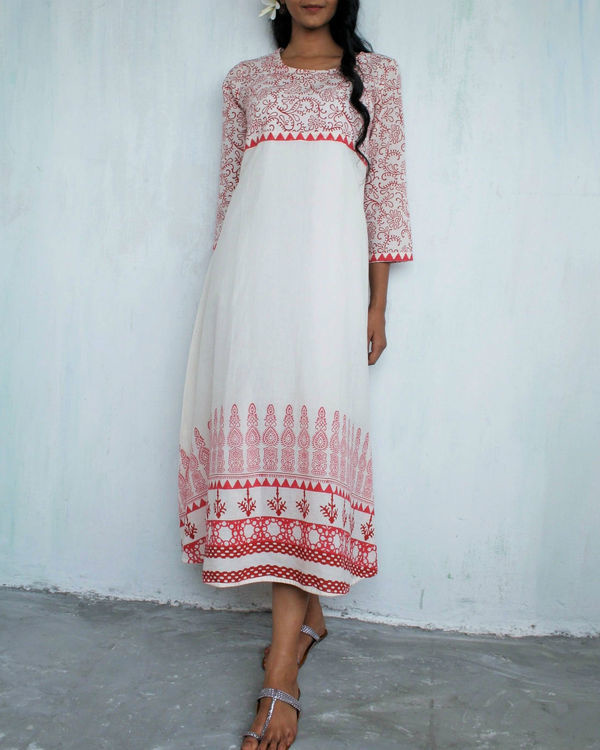 Ivory red flared dress