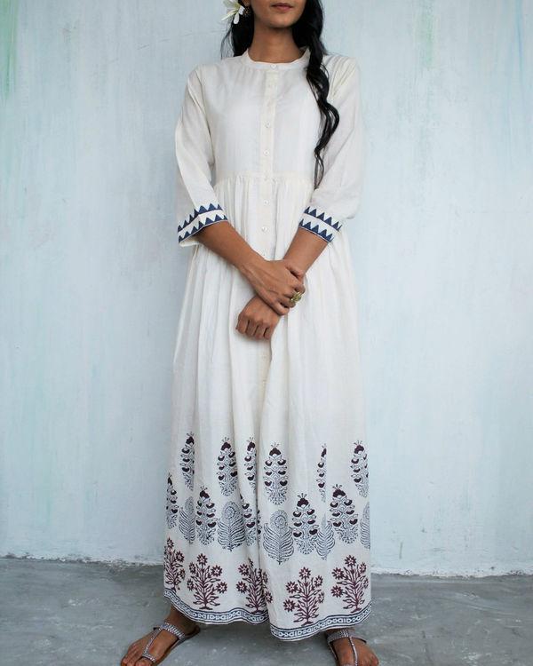 Ivory blue gathered dress