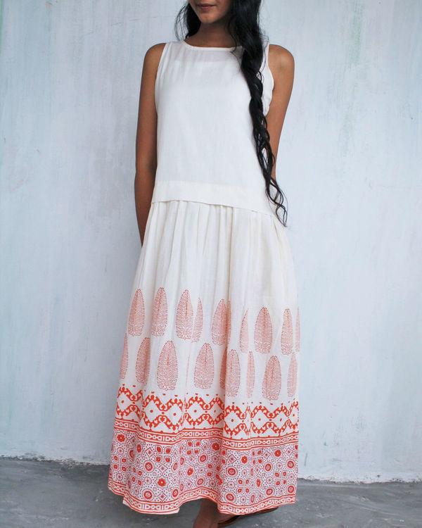 Ivory orange classic dress