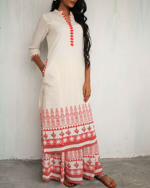 Ivory red straight kurta