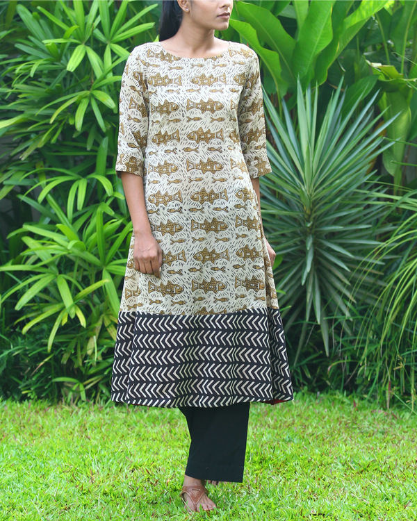 Fish chanderi kurta