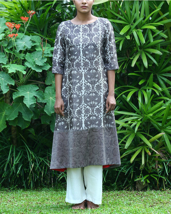 Grey chanderi printed kurta