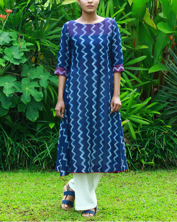 Wave chanderi kurta