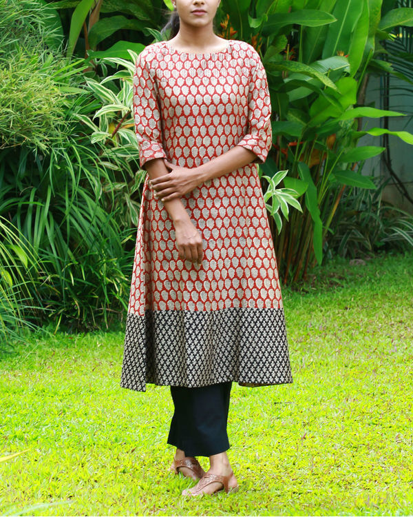 Rust chanderi kurta