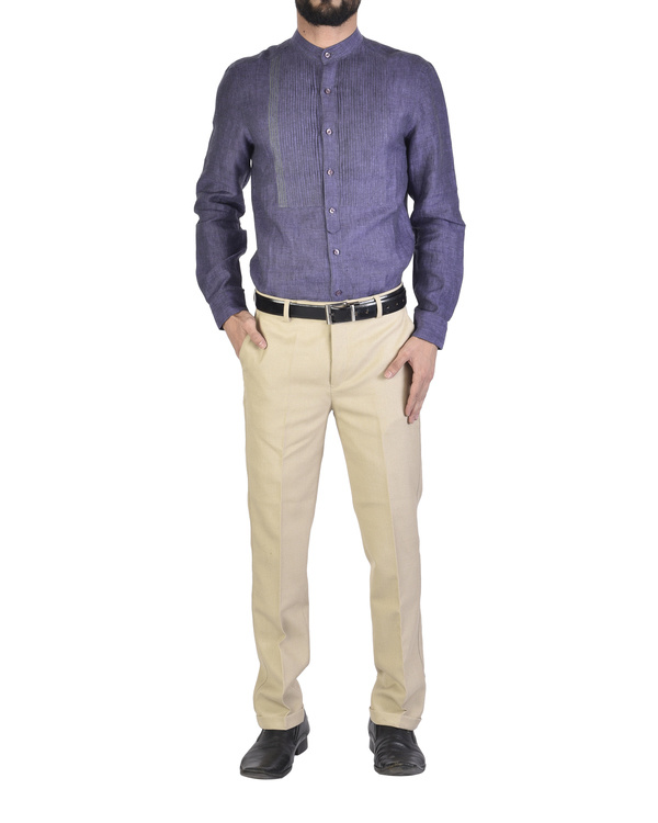 Purple shirt with front yoke