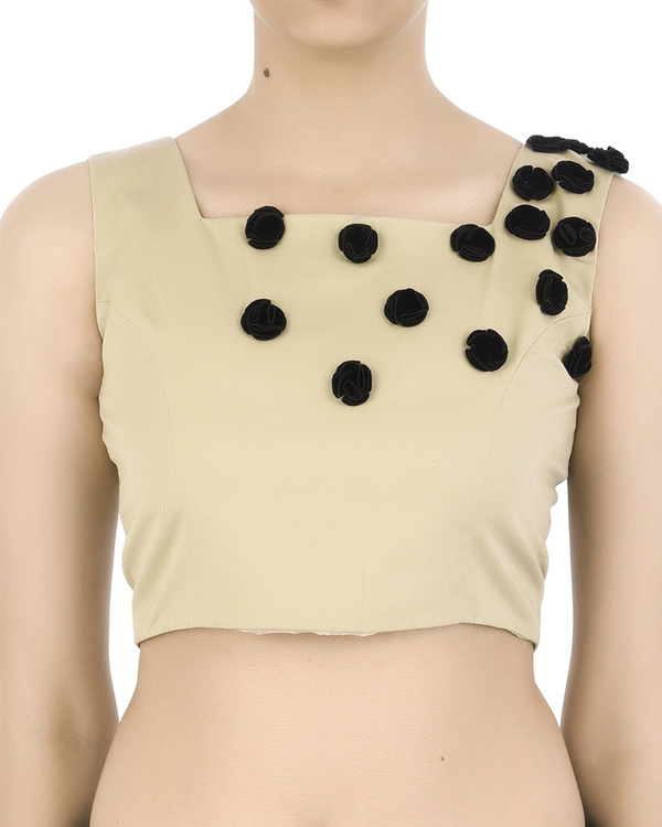 Crop top with black floral applique
