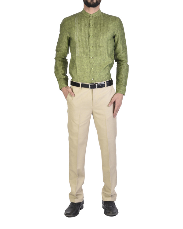 Olive green Shirt with front yoke