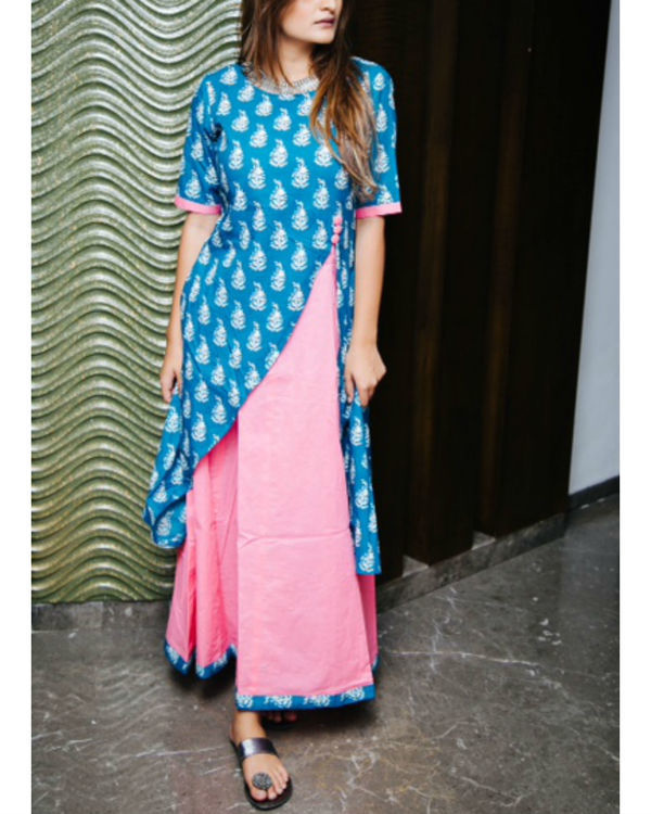 Printed blue and pink layered maxi