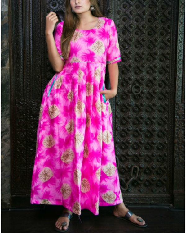 Pink tie-dye maxi
