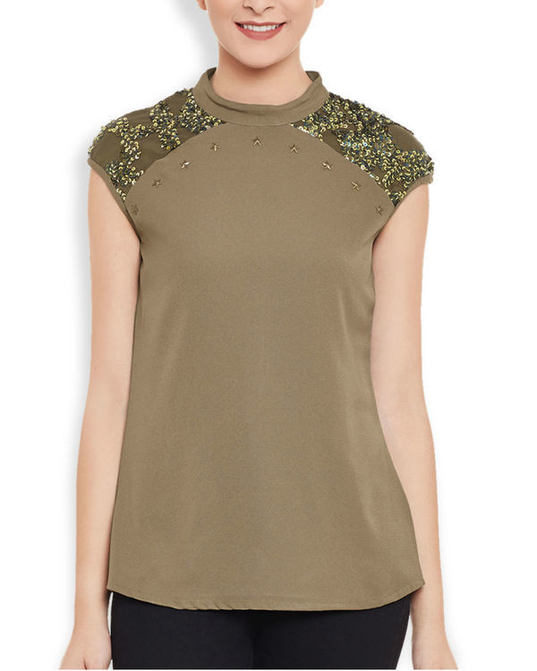 Brown sequined top