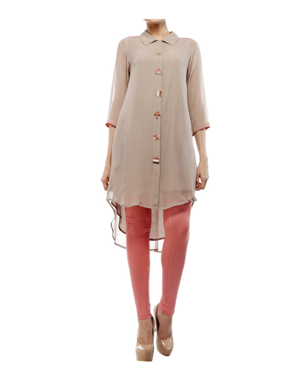 Tunic with embroidered detailing on the front placket