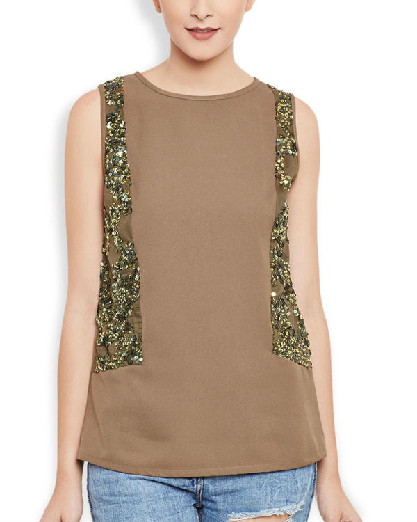 Brown panelled top