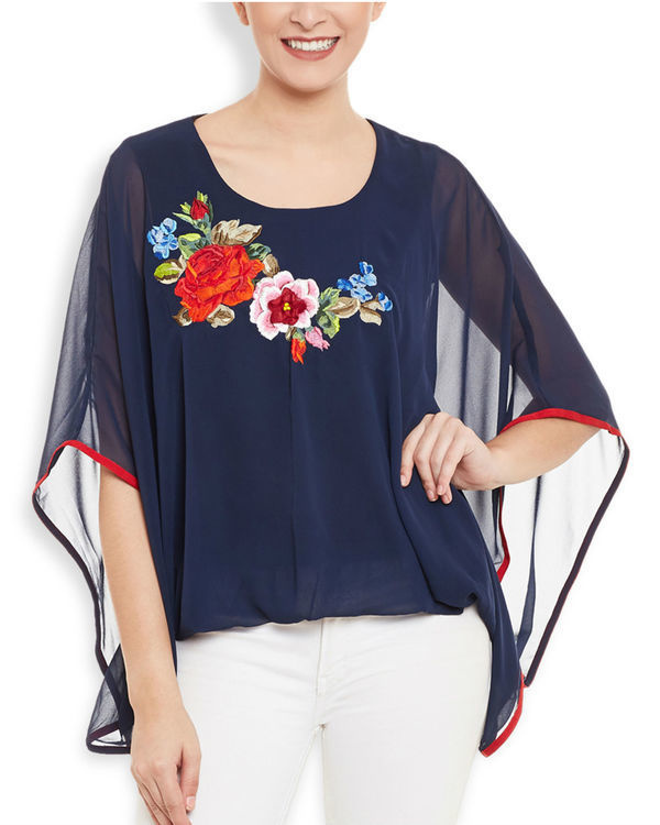 Navy poncho top