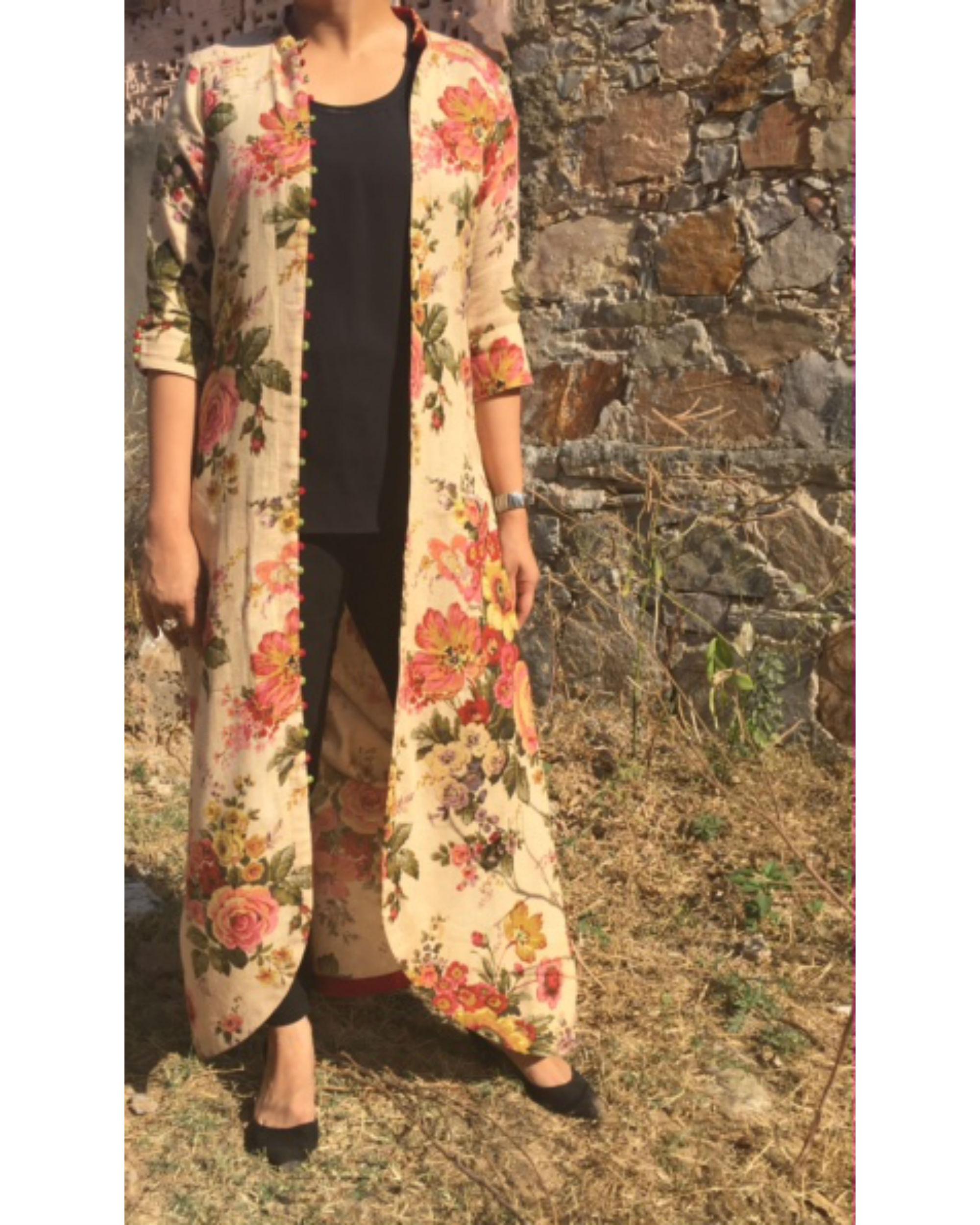 Floral cape shrug