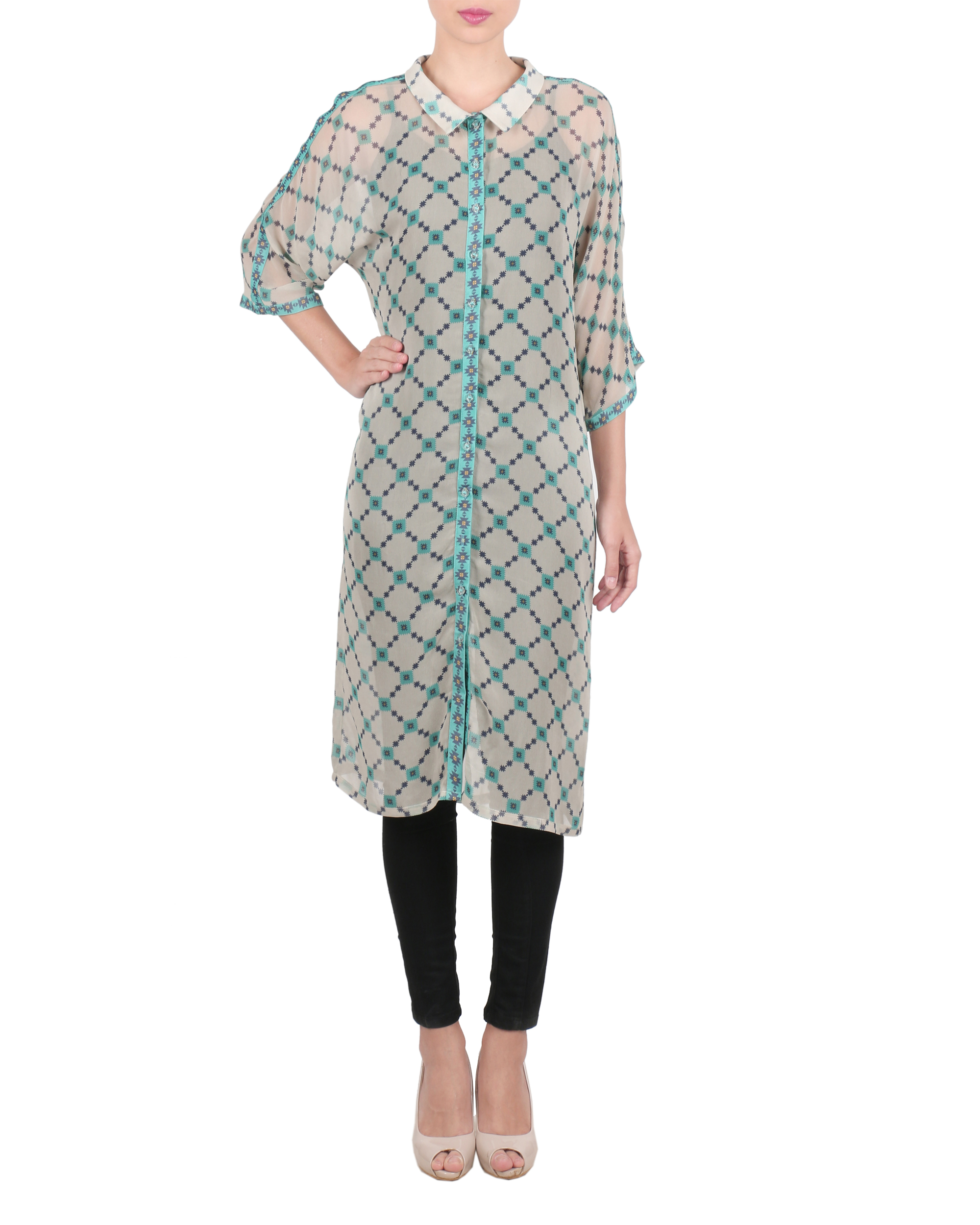 Grey georgette buttoned up tunic