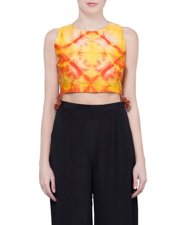 Sleeveless orange shibori blouse