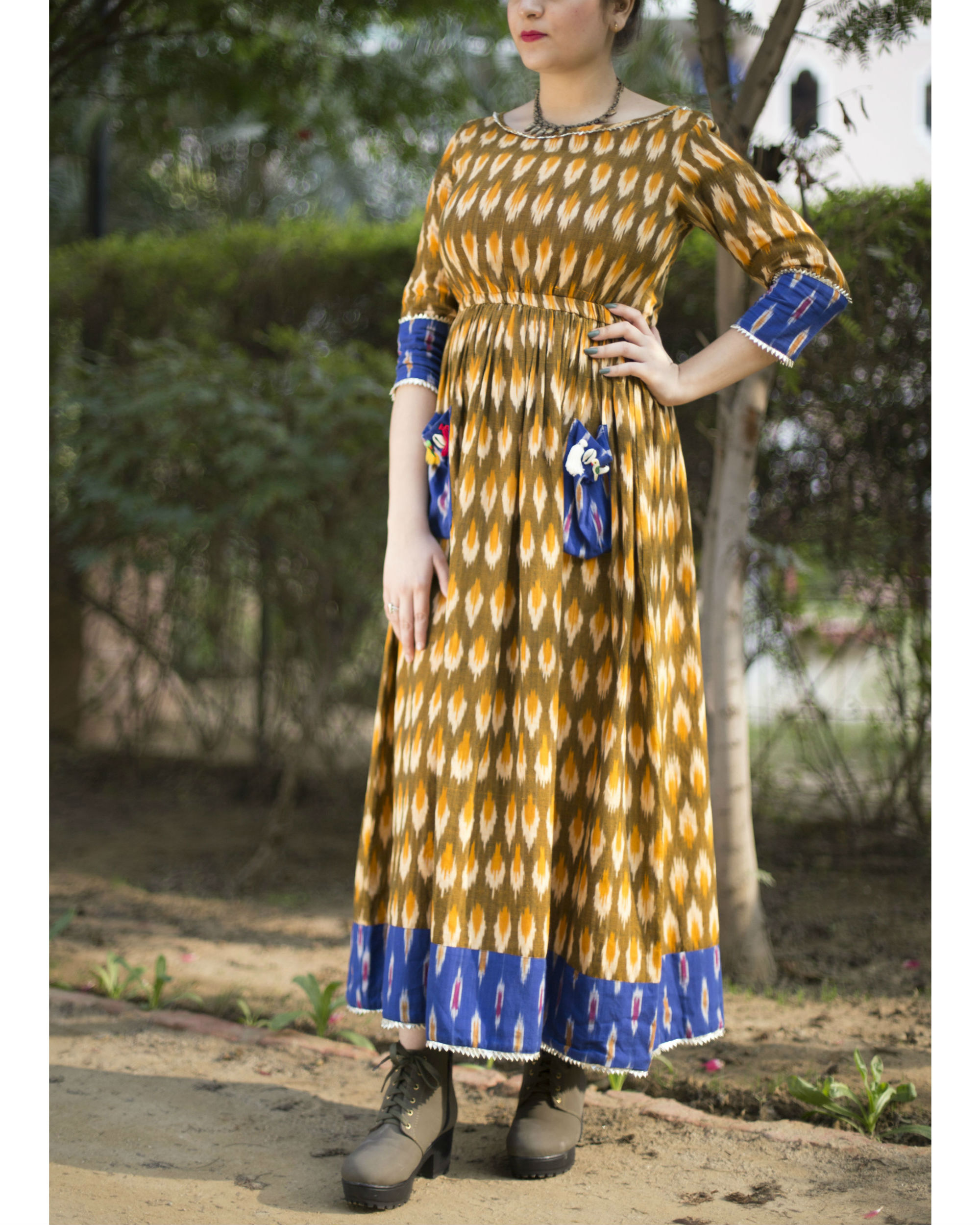Sunny ikat cotton dress
