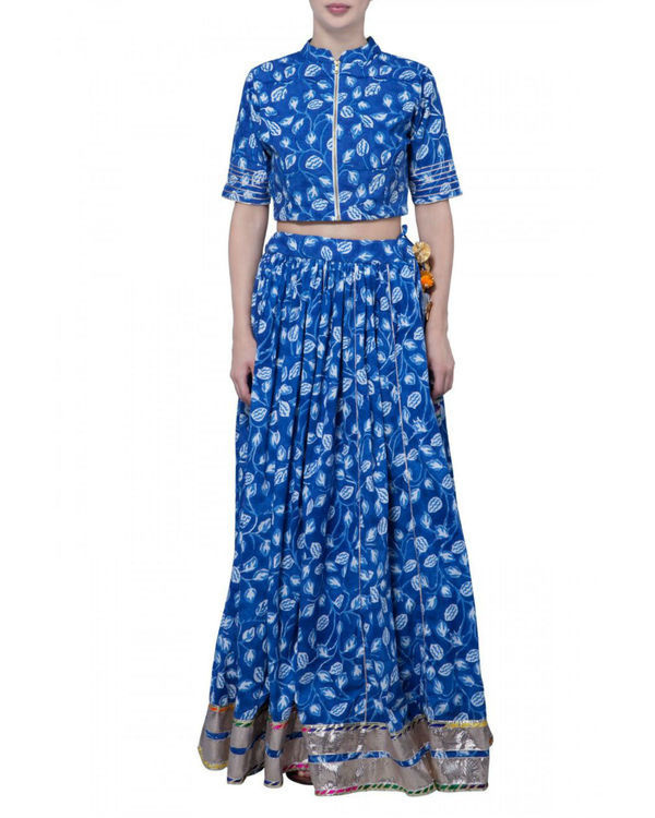 Blue block printed skirt and crop top set