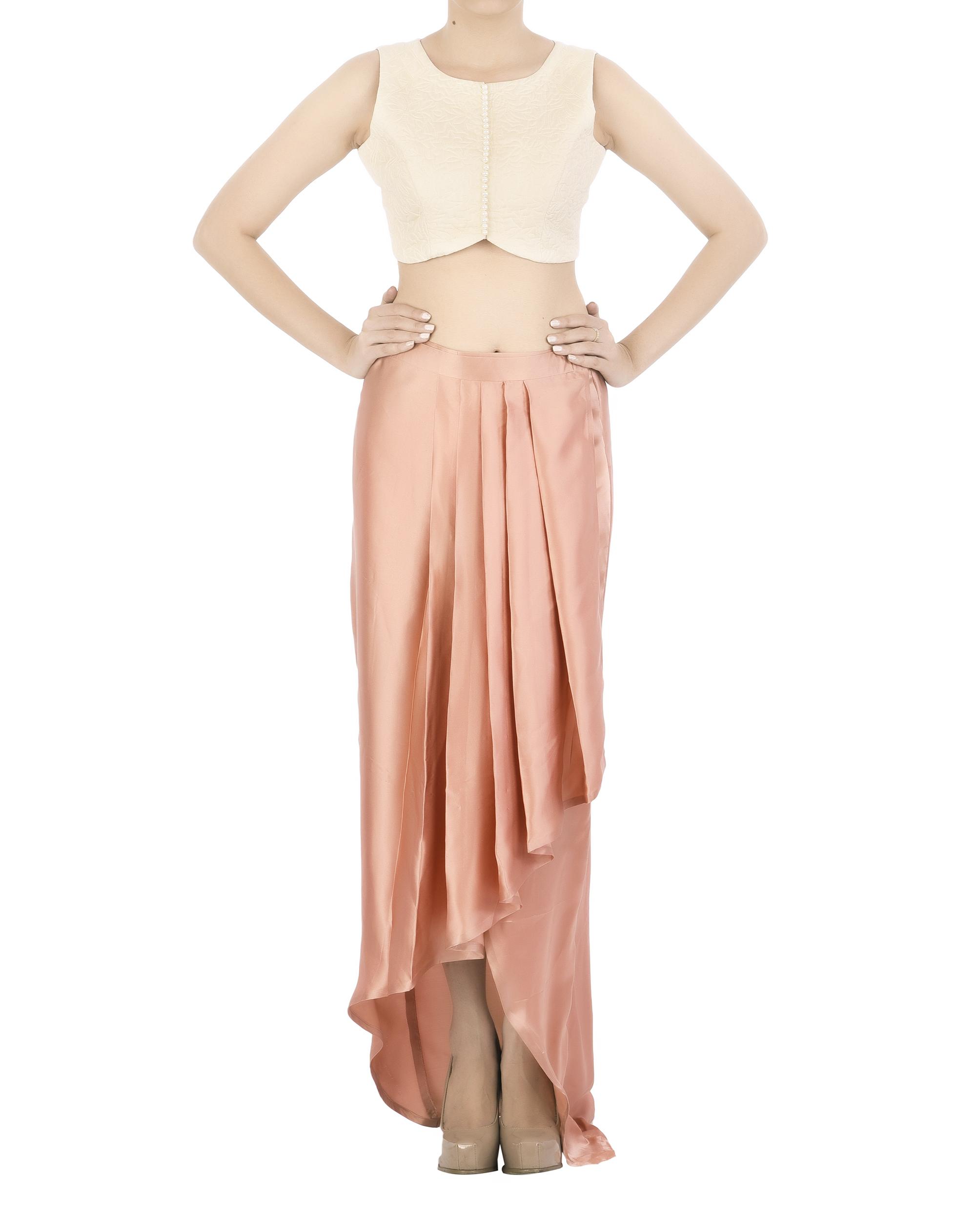 Draped satin skirt