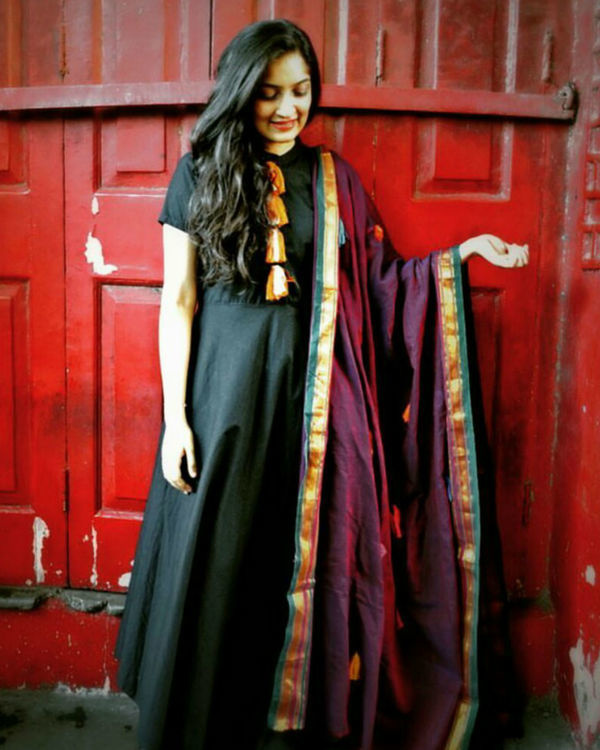 Black tasseled tunic with dupatta