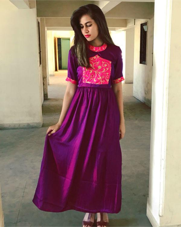 Purple semi cage dress