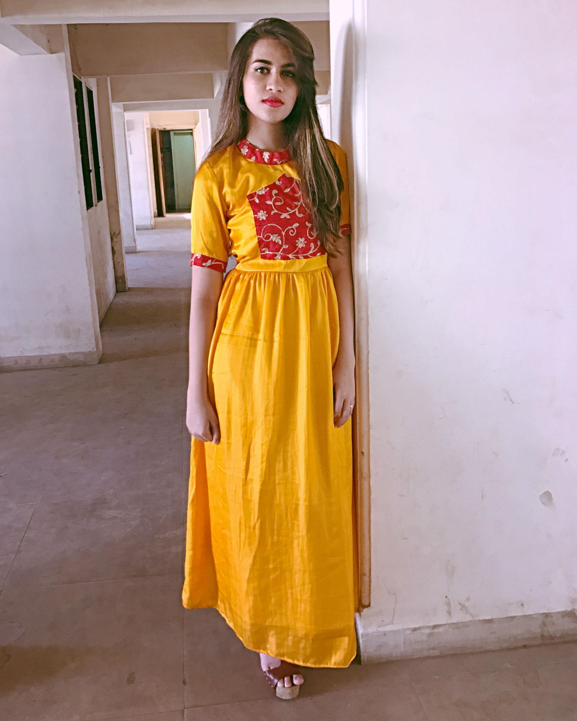 Yellow semi cage dress