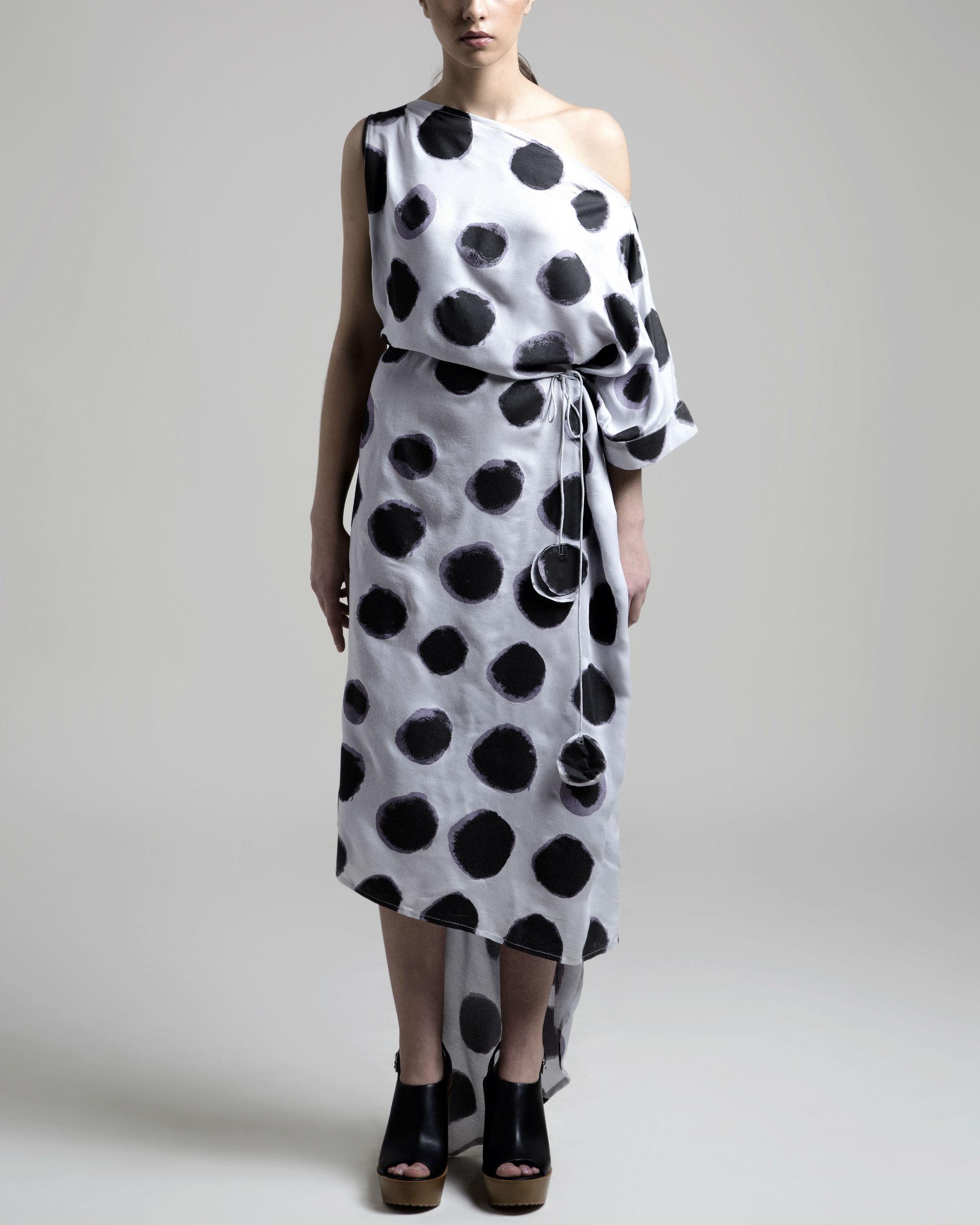 Off shoulder polka dress