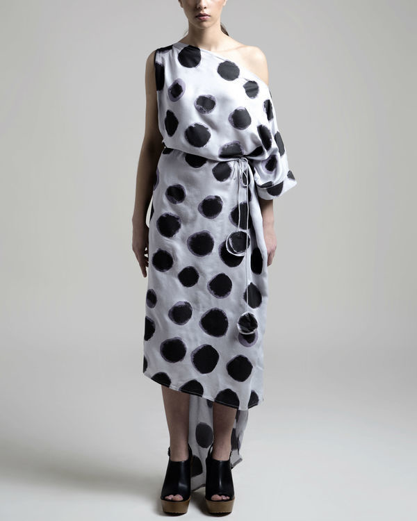 Off shoulder polka dress