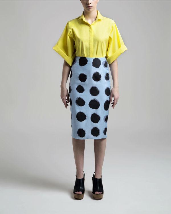 Polka pencil skirt