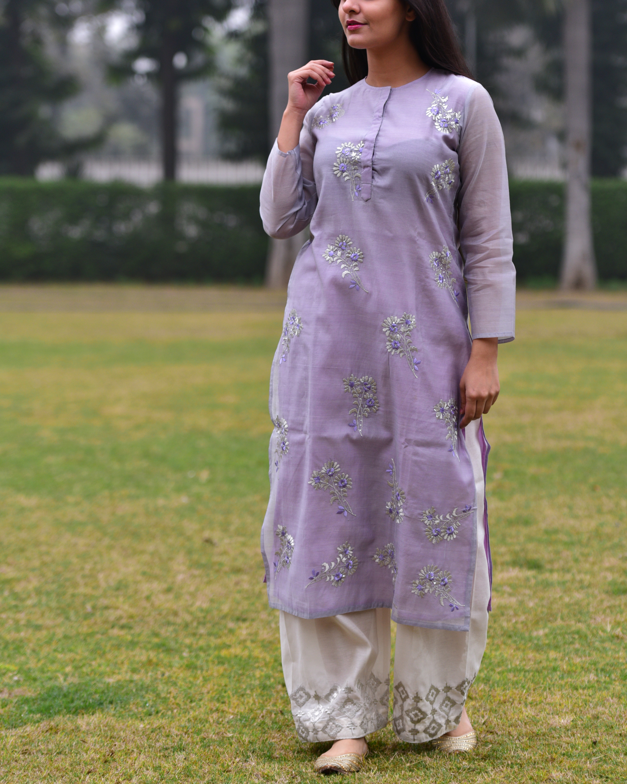 Lilac embroidered tunic