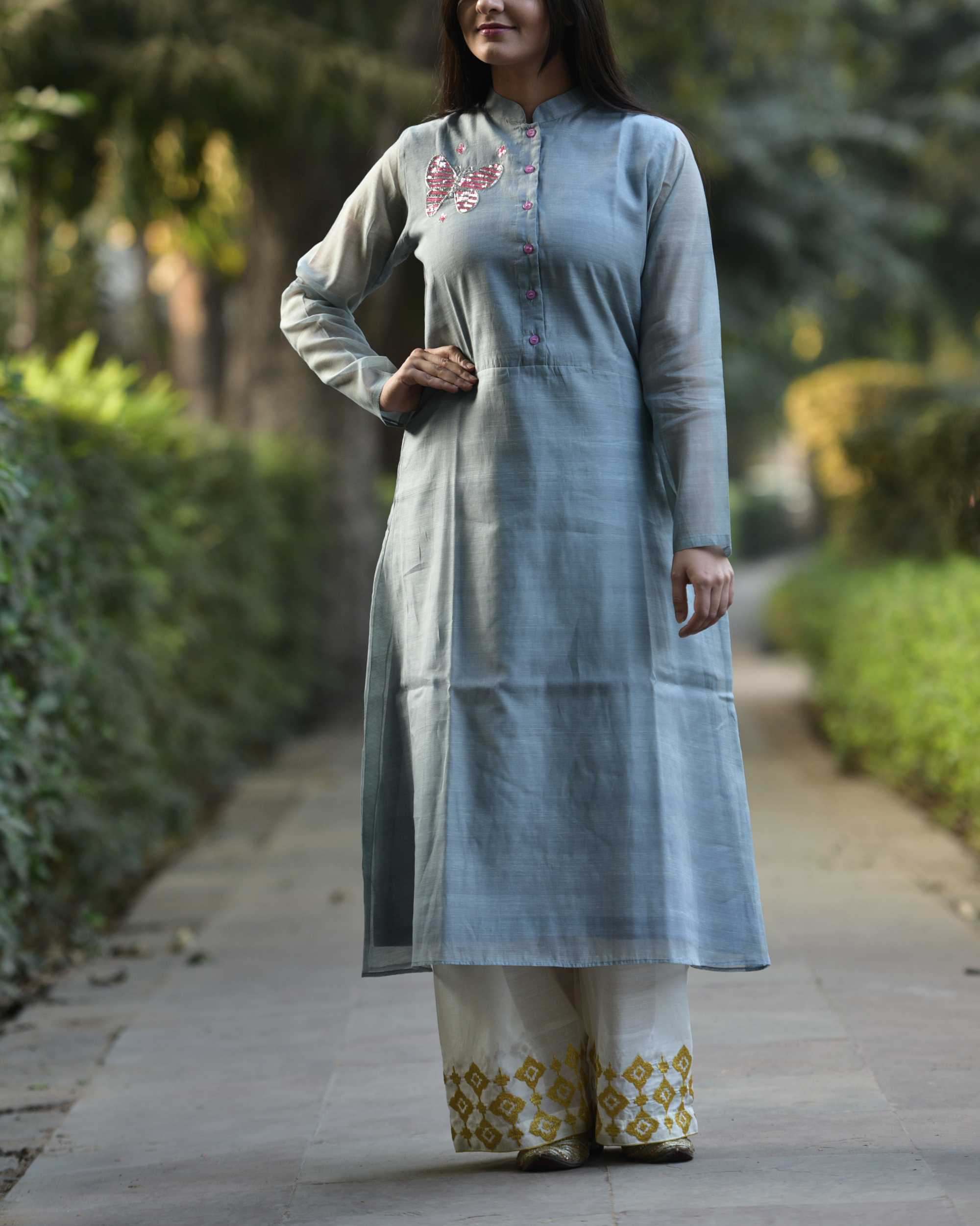 Grey embroidered tunic