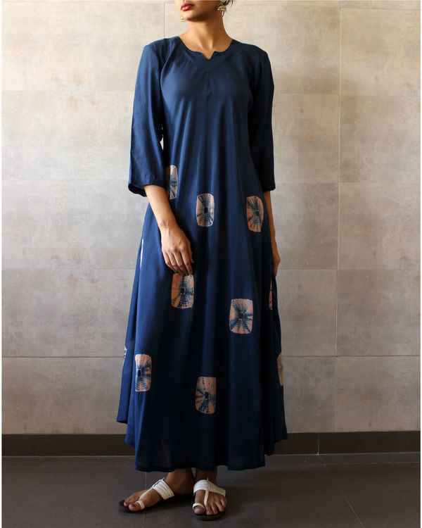 Navy blue bandhej dress