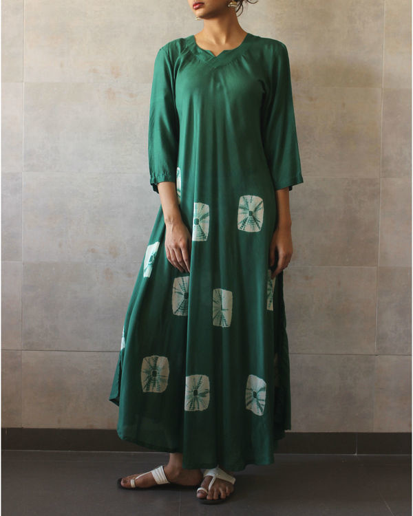 Green  ivory bandhej dress