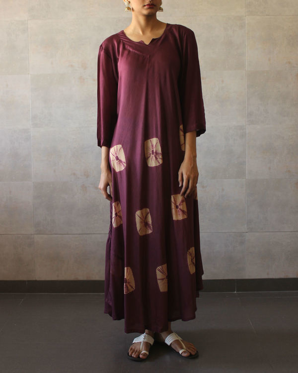 Wine beige bandhej dress