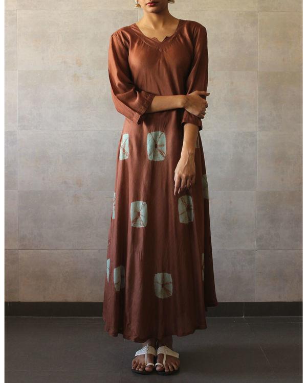 Brown mint bandhej dress