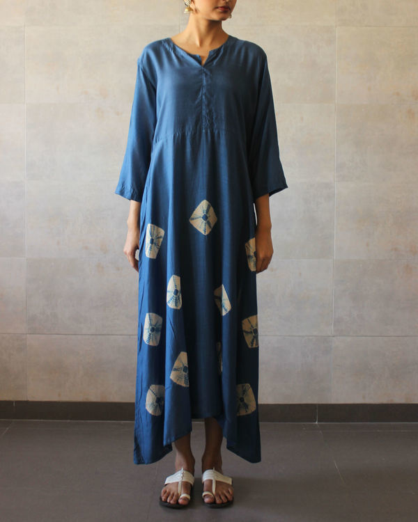 Blue yoke bandhej dress