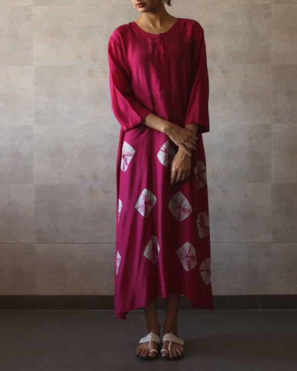 Deep pink yoke bandhej dress