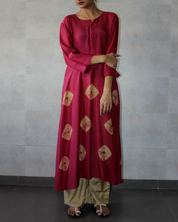 Deep red yoke bandhej dress
